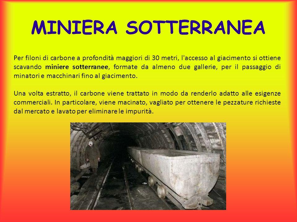 Per filoni di carbone a profondità maggiori di 30 metri, l'accesso al giacimento si ottiene scavando miniere sotterranee, formate da almeno due galler