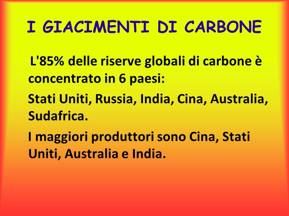 I GIACIMENTI DI CARBONE L'85% delle riserve globali di carbone è concentrato in 6 paesi: Stati Uniti, Russia, India, Cina, Australia, Sudafrica. I mag
