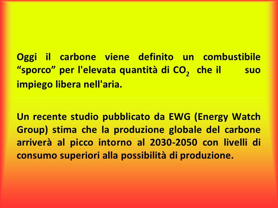 """Oggi il carbone viene definito un combustibile """"sporco"""" per l'elevata quantità di CO 2 che il suo impiego libera nell'aria. Un recente studio pubblica"""