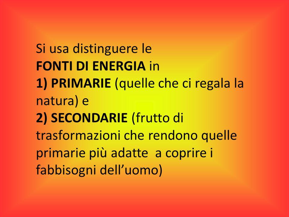 FONTI DI ENERGIA PRIMARIE rinnovabili e non rinnovabili 1)Carbone 2)Gas naturale (metano CH 4 ) 3)Legna (biomassa) a patto di consumarne solo una quantità limitata e di riforestare 4)Petrolio 5)I combustibili nucleari (il più diffuso è l'uranio) 6)Sole 7)Vento 8)Maree, laghi montani e fiumi (dai quali si ricava energia idroelettrica) 9)Calore della terra (energia geotermica)