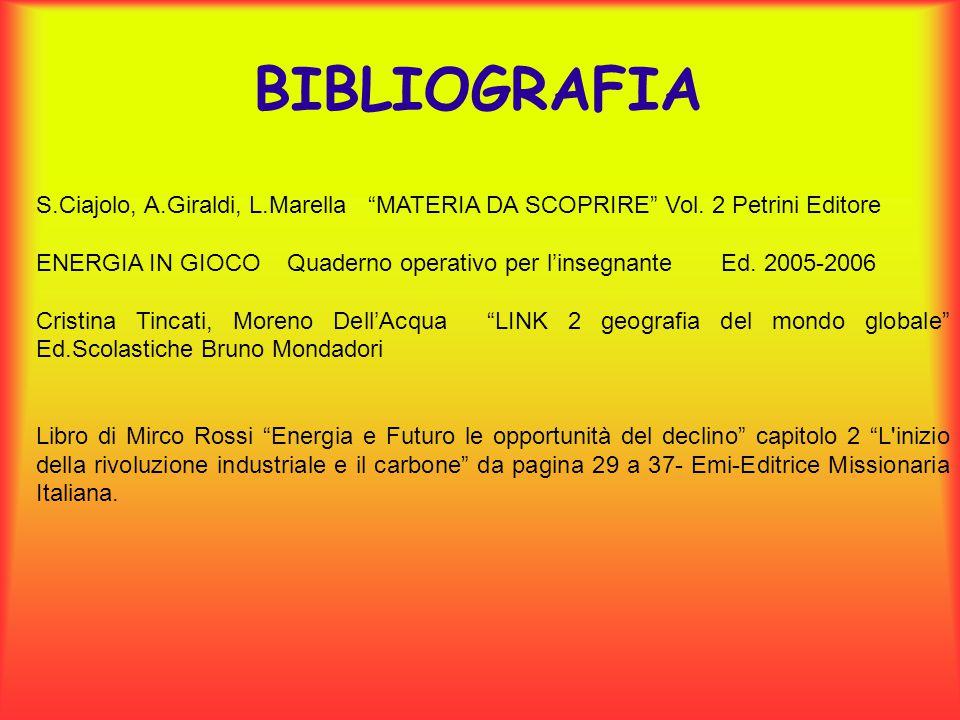 """BIBLIOGRAFIA S.Ciajolo, A.Giraldi, L.Marella """"MATERIA DA SCOPRIRE"""" Vol. 2 Petrini Editore ENERGIA IN GIOCO Quaderno operativo per l'insegnante Ed. 200"""