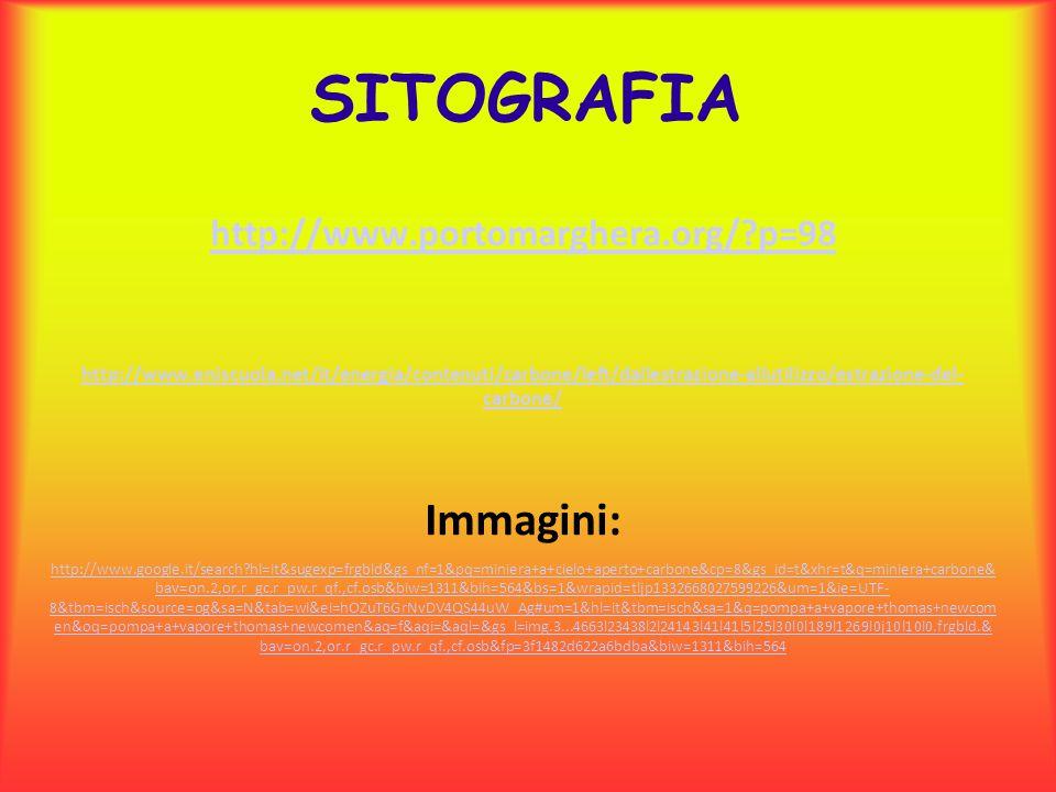 SITOGRAFIA http://www.portomarghera.org/?p=98 http://www.eniscuola.net/it/energia/contenuti/carbone/left/dallestrazione-allutilizzo/estrazione-del- ca