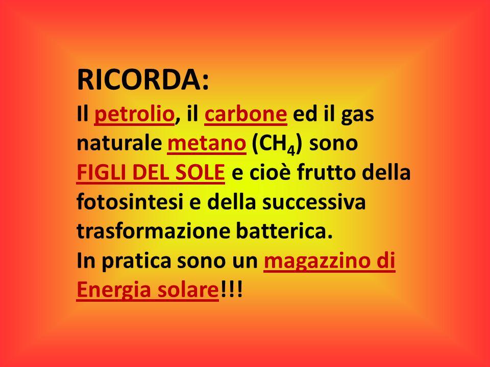 RICORDA: Il petrolio, il carbone ed il gas naturale metano (CH 4 ) sono FIGLI DEL SOLE e cioè frutto della fotosintesi e della successiva trasformazio