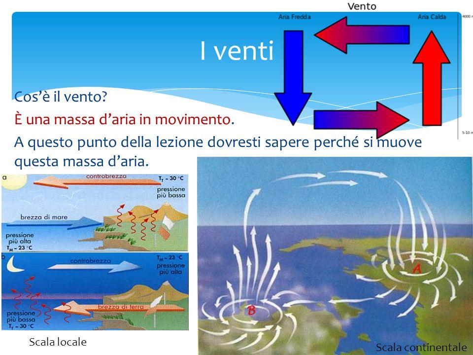 Cos'è il vento? È una massa d'aria in movimento. A questo punto della lezione dovresti sapere perché si muove questa massa d'aria. I venti Scala conti