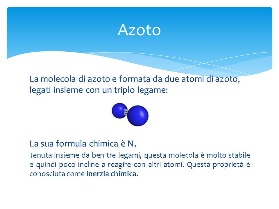La molecola di azoto e formata da due atomi di azoto, legati insieme con un triplo legame: La sua formula chimica è N 2 Tenuta insieme da ben tre lega