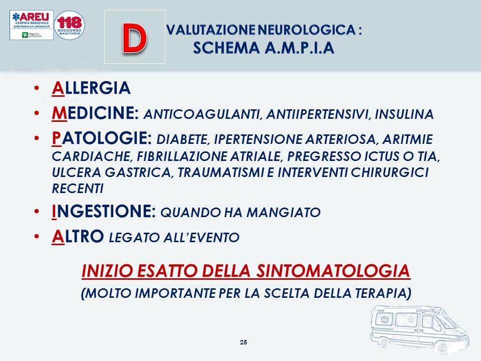 25 ALLERGIA MEDICINE: ANTICOAGULANTI, ANTIIPERTENSIVI, INSULINA PATOLOGIE: DIABETE, IPERTENSIONE ARTERIOSA, ARITMIE CARDIACHE, FIBRILLAZIONE ATRIALE,