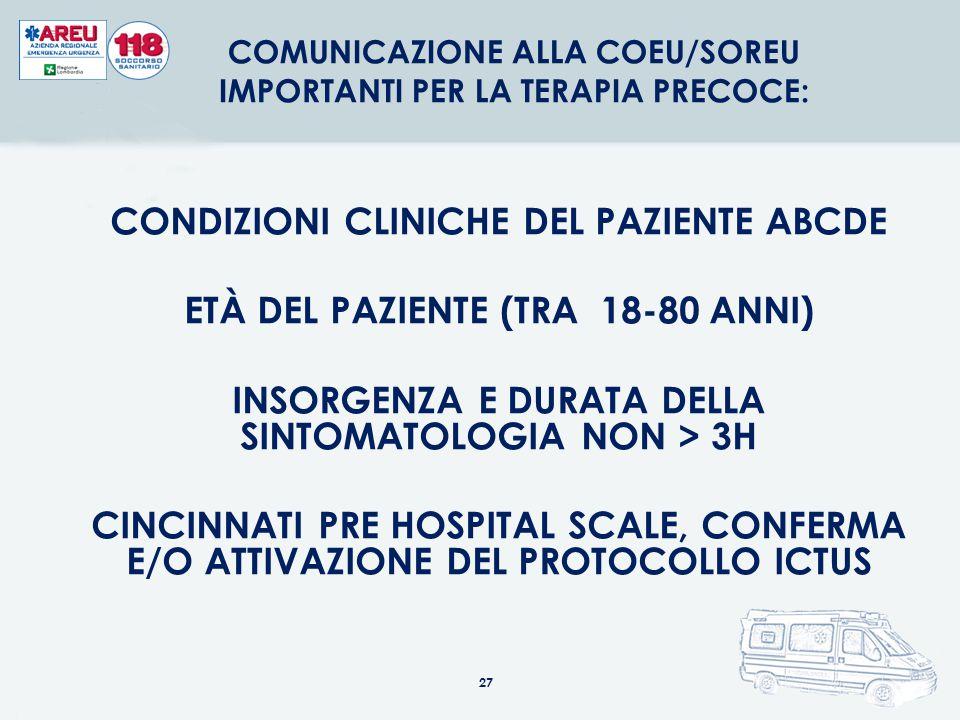 27 CONDIZIONI CLINICHE DEL PAZIENTE ABCDE ETÀ DEL PAZIENTE (TRA 18-80 ANNI) INSORGENZA E DURATA DELLA SINTOMATOLOGIA NON > 3H CINCINNATI PRE HOSPITAL