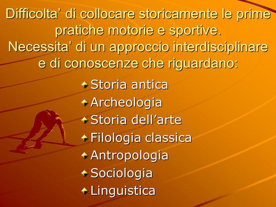 Storia antica Archeologia Storia dell'arte Filologia classica AntropologiaSociologiaLinguistica Difficolta' di collocare storicamente le prime pratich