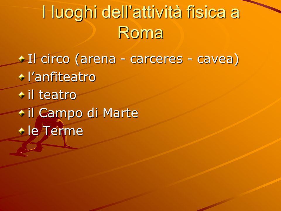 I luoghi dell'attività fisica a Roma Il circo (arena - carceres - cavea) l'anfiteatro il teatro il Campo di Marte le Terme