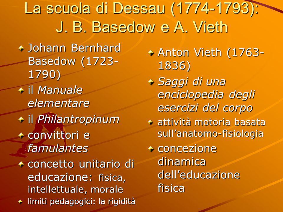 La scuola di Dessau (1774-1793): J. B. Basedow e A. Vieth Johann Bernhard Basedow (1723- 1790) il Manuale elementare il Philantropinum convittori e fa