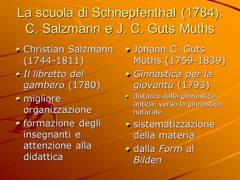 La scuola di Schnepfenthal (1784): C. Salzmann e J. C. Guts Muths Christian Salzmann (1744-1811) Il libretto del gambero (1780) migliore organizzazion