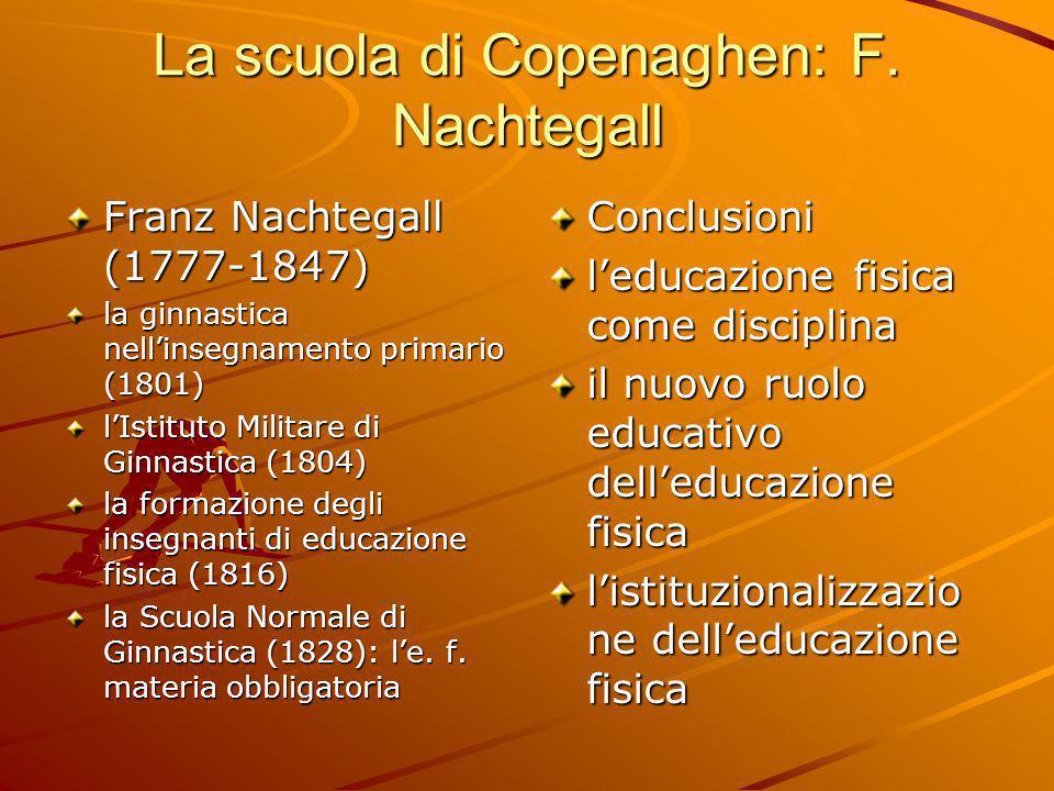 La scuola di Copenaghen: F. Nachtegall Franz Nachtegall (1777-1847) la ginnastica nell'insegnamento primario (1801) l'Istituto Militare di Ginnastica