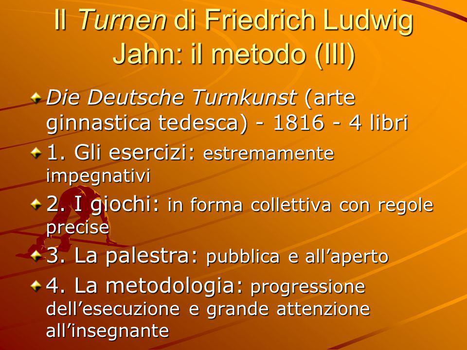 Il Turnen di Friedrich Ludwig Jahn: il metodo (III) Die Deutsche Turnkunst (arte ginnastica tedesca) - 1816 - 4 libri 1. Gli esercizi: estremamente im