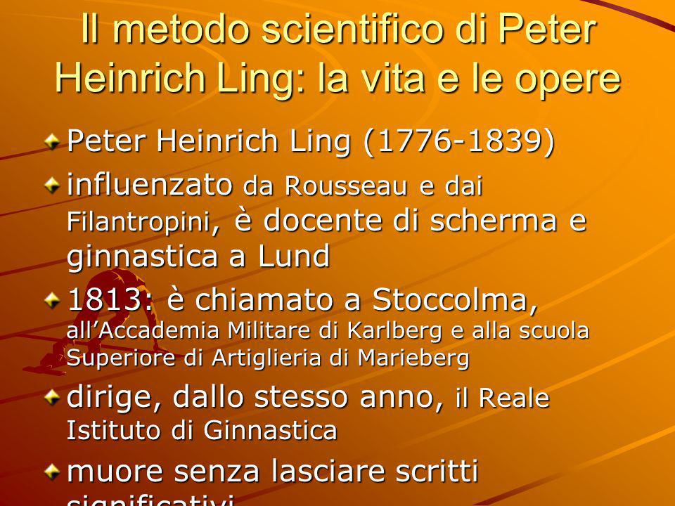 Il metodo scientifico di Peter Heinrich Ling: la vita e le opere Peter Heinrich Ling (1776-1839) influenzato da Rousseau e dai Filantropini, è docente