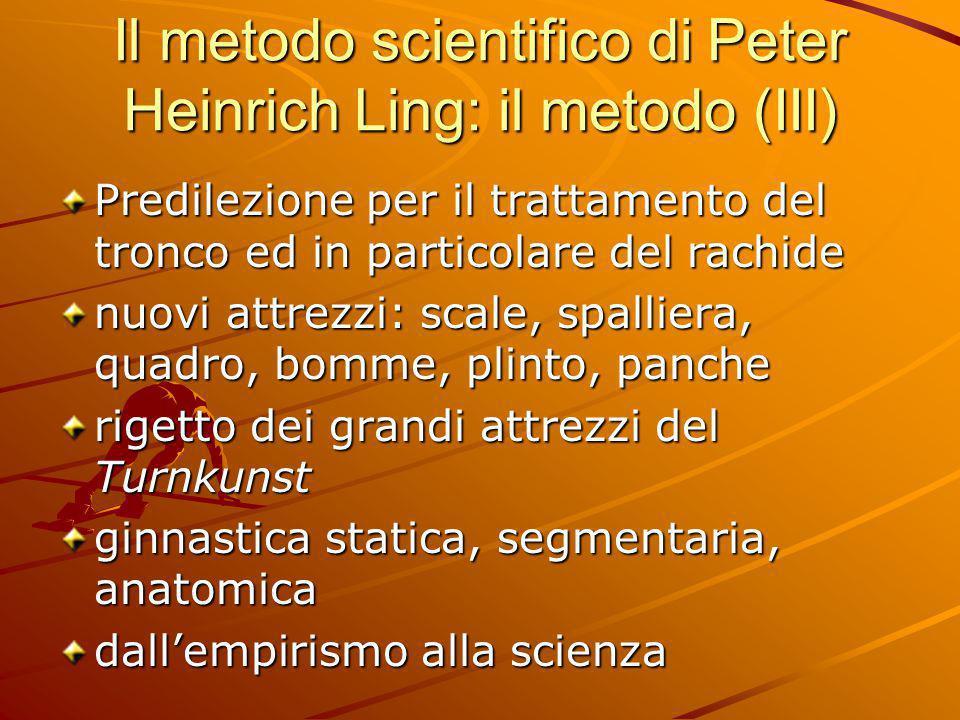 Il metodo scientifico di Peter Heinrich Ling: il metodo (III) Predilezione per il trattamento del tronco ed in particolare del rachide nuovi attrezzi:
