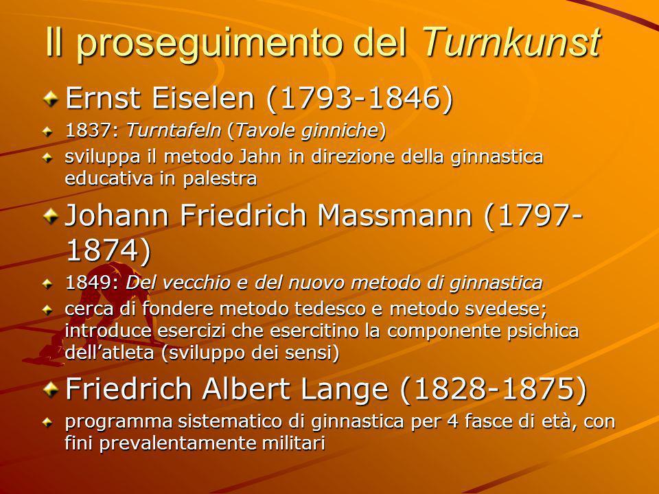 Il proseguimento del Turnkunst Ernst Eiselen (1793-1846) 1837: Turntafeln (Tavole ginniche) sviluppa il metodo Jahn in direzione della ginnastica educ