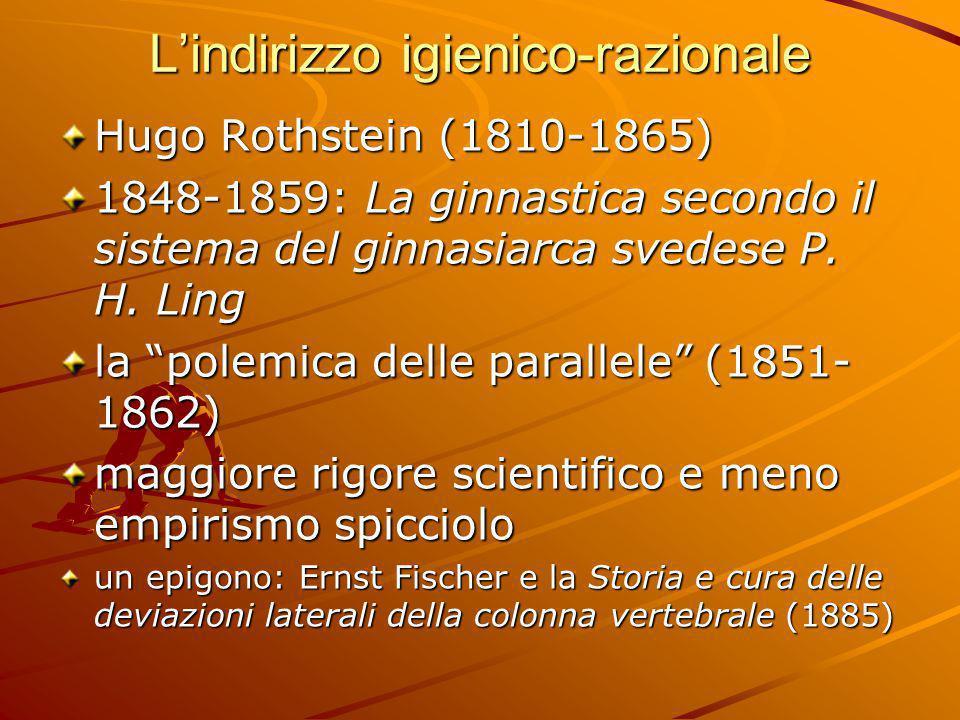 """L'indirizzo igienico-razionale Hugo Rothstein (1810-1865) 1848-1859: La ginnastica secondo il sistema del ginnasiarca svedese P. H. Ling la """"polemica"""