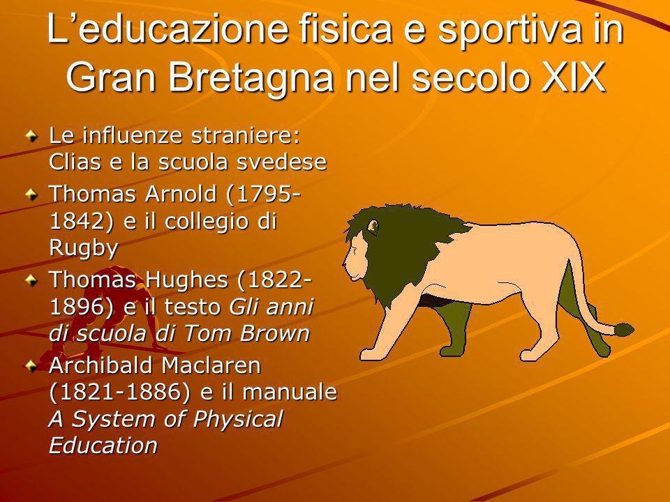 L'educazione fisica e sportiva in Gran Bretagna nel secolo XIX Le influenze straniere: Clias e la scuola svedese Thomas Arnold (1795- 1842) e il colle
