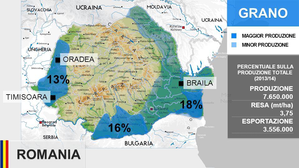 ROMANIA PRODUZIONE 7.650.000 RESA (mt/ha) 3,75 ESPORTAZIONE 3.556.000 TIMISOARA ORADEA BRAILA 13% GRANO 16% 18% PERCENTUALE SULLA PRODUZIONE TOTALE (2013/14) MINOR PRODUZIONE MAGGIOR PRODUZIONE