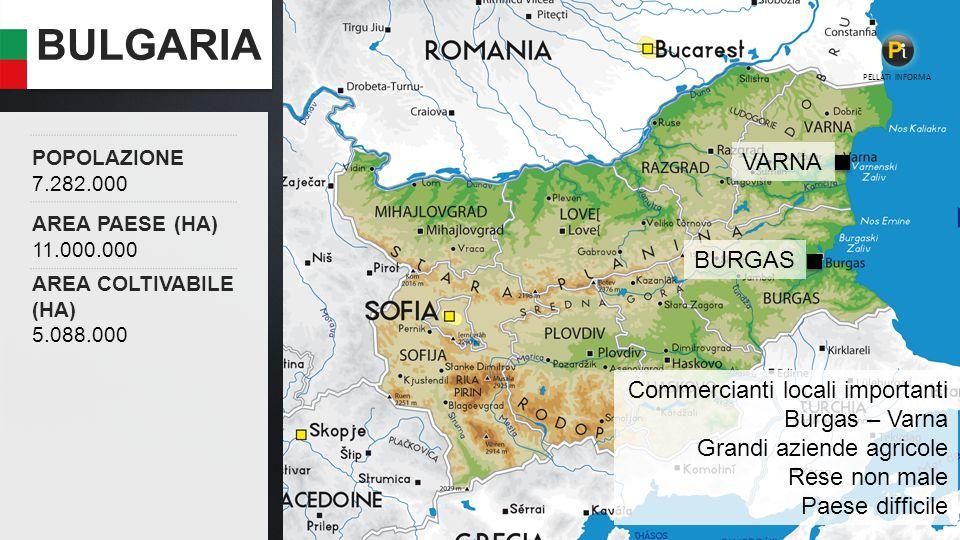 BULGARIA POPOLAZIONE 7.282.000 AREA PAESE (HA) 11.000.000 AREA COLTIVABILE (HA) 5.088.000 PELLATI INFORMA Commercianti locali importanti Burgas – Varna Grandi aziende agricole Rese non male Paese difficile BURGAS VARNA