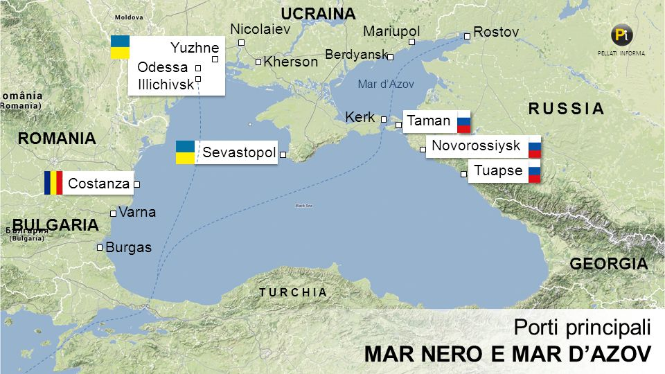 RUSSIA GEORGIA TURCHIA UCRAINA ROMANIA BULGARIA Varna Burgas Illichivsk Novorossiysk Tuapse Rostov Mariupol Odessa Yuzhne Costanza Kherson Nicolaiev K