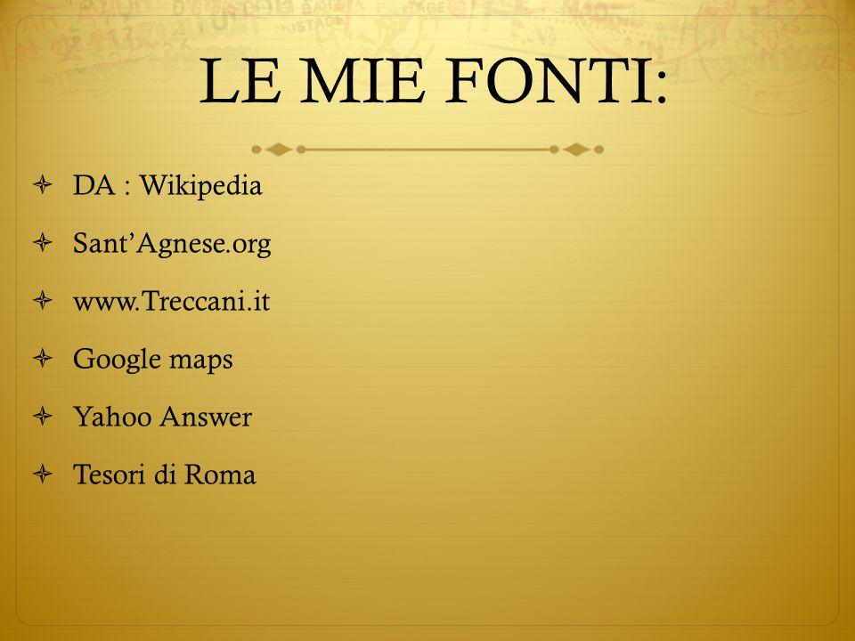 LE MIE FONTI:  DA : Wikipedia  Sant'Agnese.org  www.Treccani.it  Google maps  Yahoo Answer  Tesori di Roma