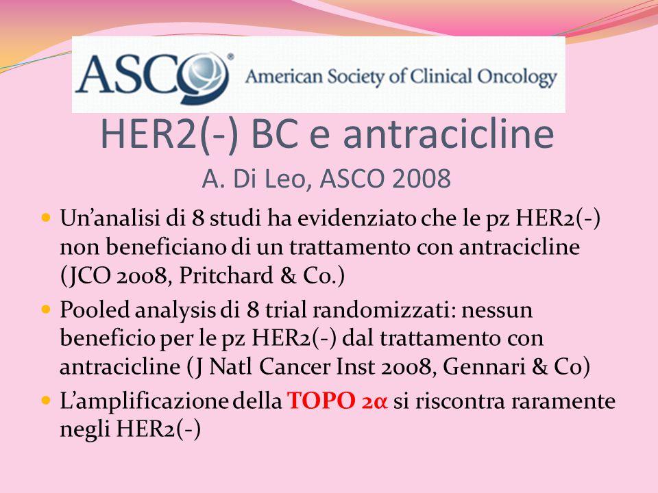 HER2(-) BC e antracicline A. Di Leo, ASCO 2008 Un'analisi di 8 studi ha evidenziato che le pz HER2(-) non beneficiano di un trattamento con antracicli