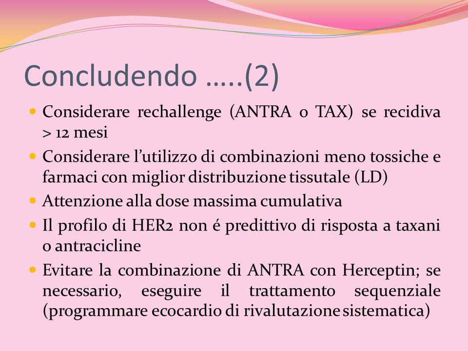 Concludendo …..(2) Considerare rechallenge (ANTRA o TAX) se recidiva > 12 mesi Considerare l'utilizzo di combinazioni meno tossiche e farmaci con migl