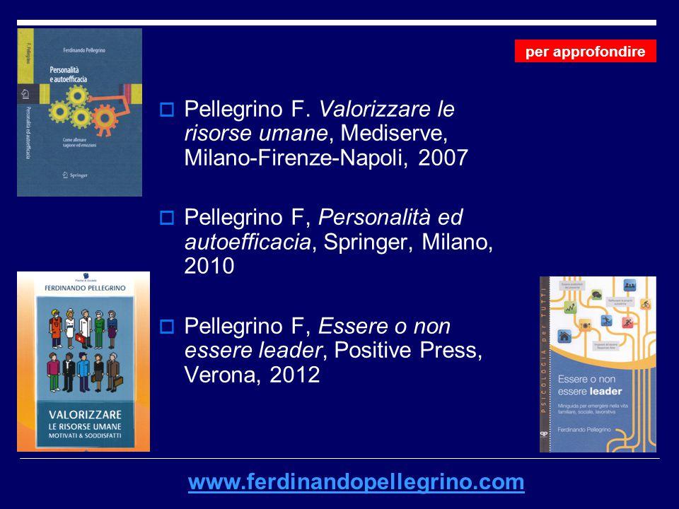  Pellegrino F. Valorizzare le risorse umane, Mediserve, Milano-Firenze-Napoli, 2007  Pellegrino F, Personalità ed autoefficacia, Springer, Milano, 2