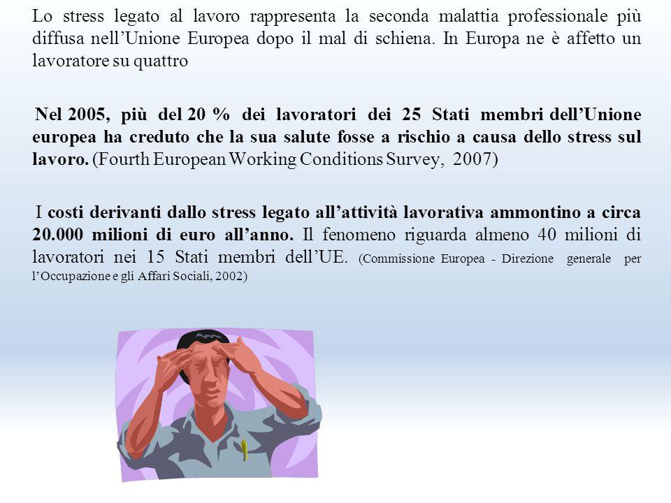 Lo stress legato al lavoro rappresenta la seconda malattia professionale più diffusa nell'Unione Europea dopo il mal di schiena.