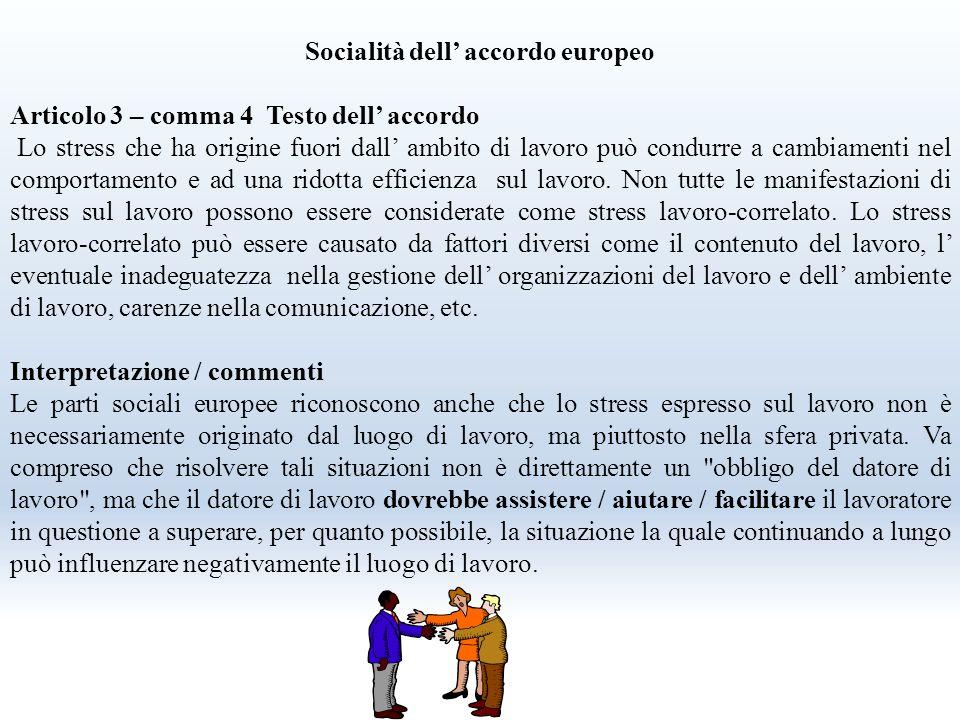 Accordo quadro europeo su stress lavoro-correlato concluso l' 8 ottobre 2004 tra UNICE/UEAPME, CEEP e CES da attuare dopo 3 anni dalla firma Firmato i
