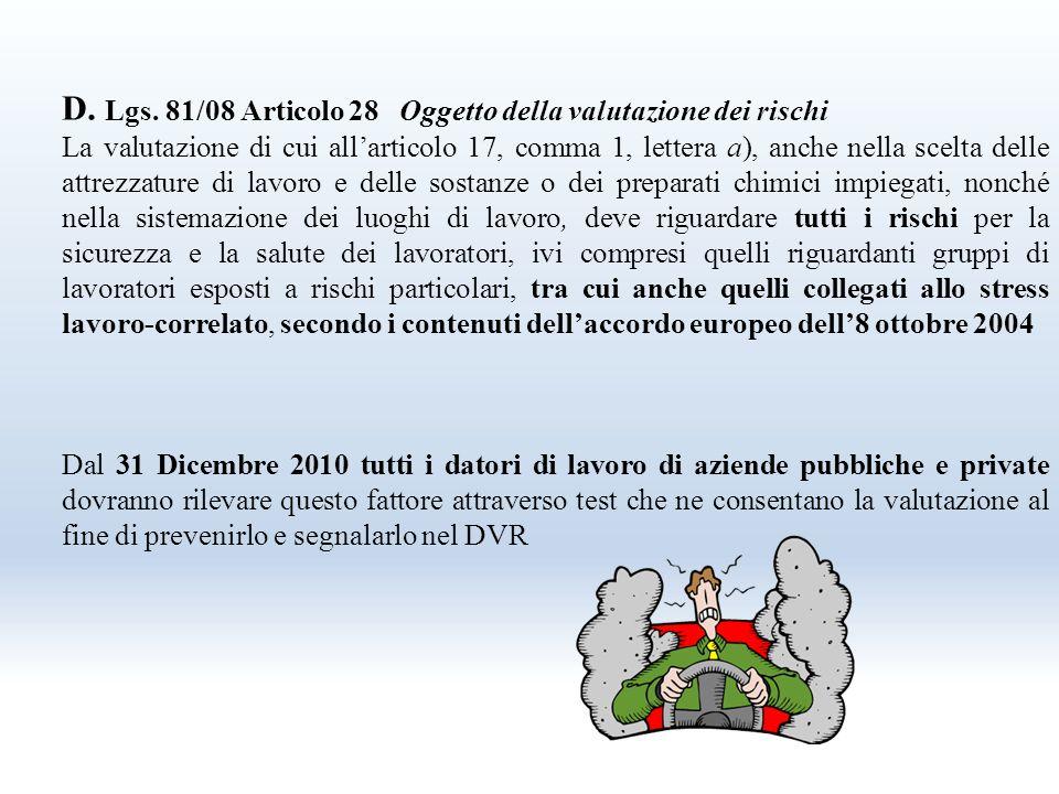 Socialità dell' accordo europeo Articolo 3 – comma 4 Testo dell' accordo Lo stress che ha origine fuori dall' ambito di lavoro può condurre a cambiame