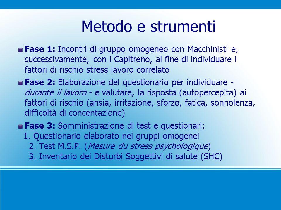 Metodo e strumenti Fase 1: Incontri di gruppo omogeneo con Macchinisti e, successivamente, con i Capitreno, al fine di individuare i fattori di rischi