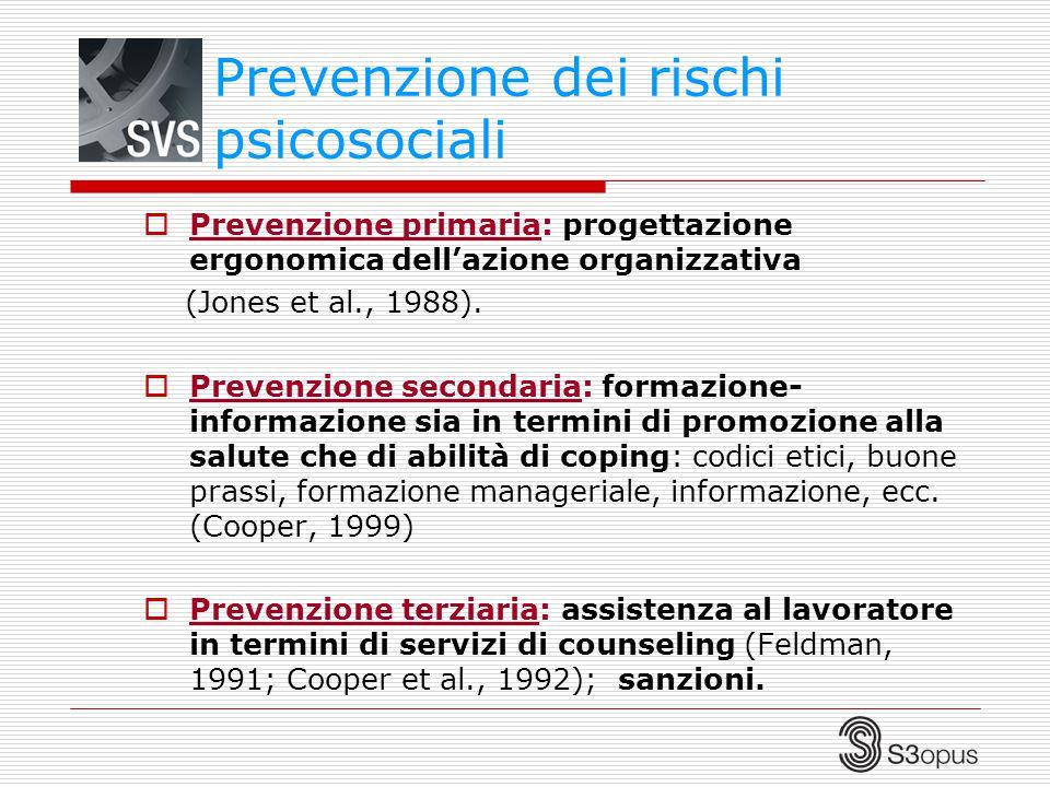  Prevenzione primaria: progettazione ergonomica dell'azione organizzativa (Jones et al., 1988).  Prevenzione secondaria: formazione- informazione si