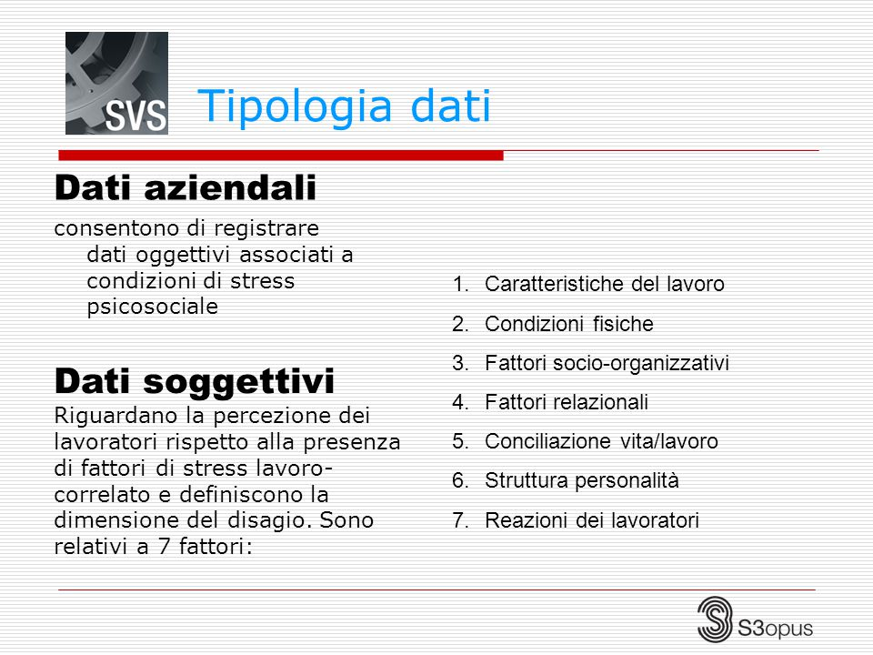 Tipologia dati Dati aziendali consentono di registrare dati oggettivi associati a condizioni di stress psicosociale Dati soggettivi Riguardano la perc