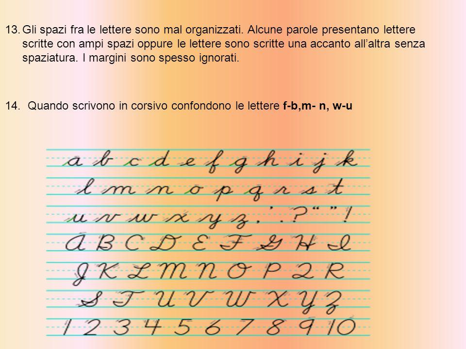 13.Gli spazi fra le lettere sono mal organizzati.