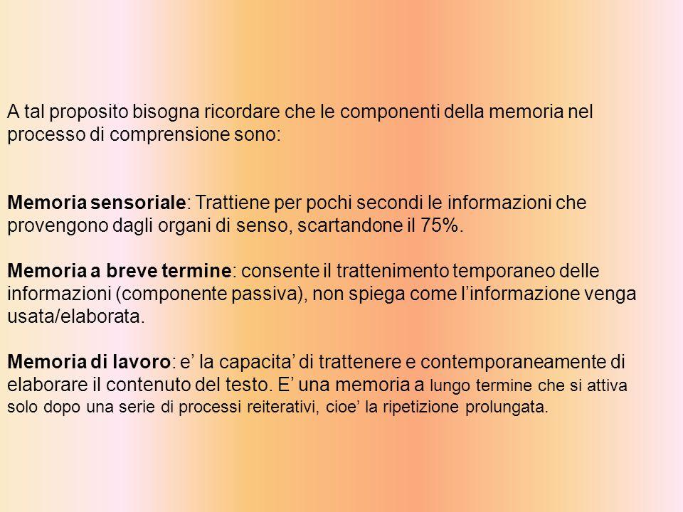 A tal proposito bisogna ricordare che le componenti della memoria nel processo di comprensione sono: Memoria sensoriale: Trattiene per pochi secondi le informazioni che provengono dagli organi di senso, scartandone il 75%.