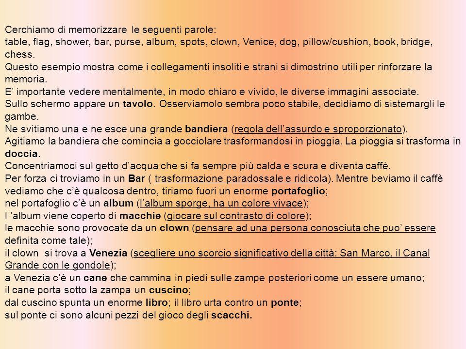 Cerchiamo di memorizzare le seguenti parole: table, flag, shower, bar, purse, album, spots, clown, Venice, dog, pillow/cushion, book, bridge, chess.