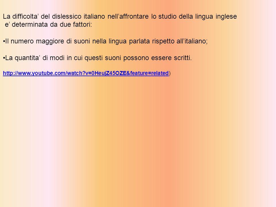 La difficolta' del dislessico italiano nell'affrontare lo studio della lingua inglese e' determinata da due fattori: Il numero maggiore di suoni nella lingua parlata rispetto all'italiano; La quantita' di modi in cui questi suoni possono essere scritti.