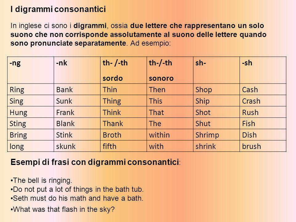 I digrammi consonantici In inglese ci sono i digrammi, ossia due lettere che rappresentano un solo suono che non corrisponde assolutamente al suono delle lettere quando sono pronunciate separatamente.