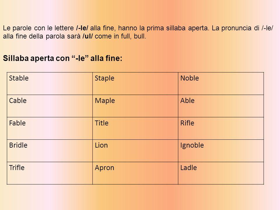 StableStapleNoble CableMapleAble FableTitleRifle BridleLionIgnoble TrifleApronLadle Le parole con le lettere /-le/ alla fine, hanno la prima sillaba aperta.