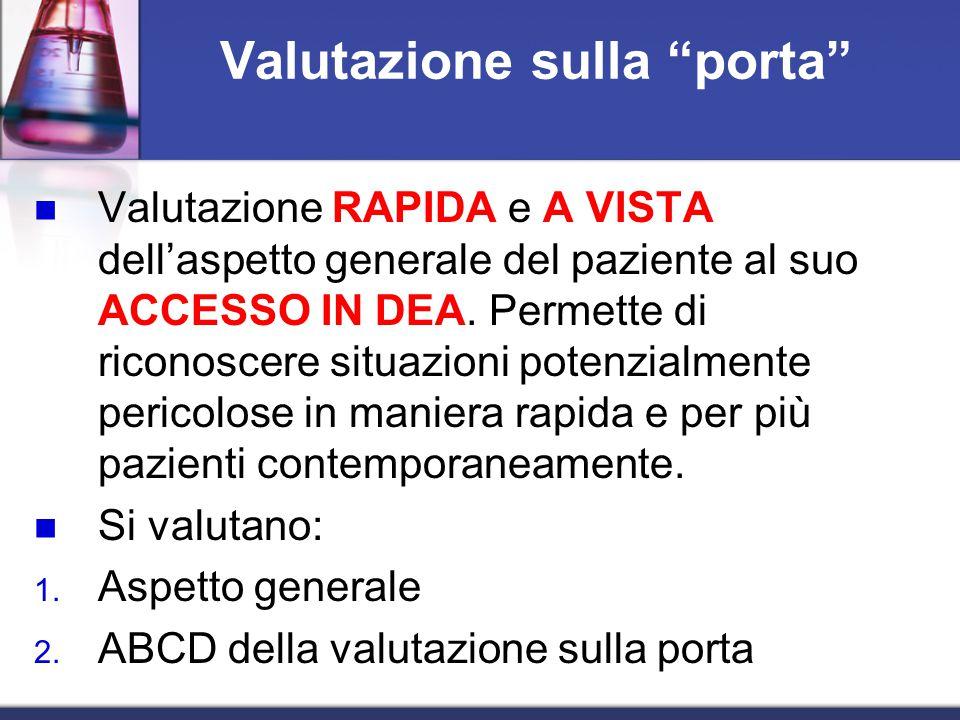 Valutazione sulla porta Valutazione RAPIDA e A VISTA dell'aspetto generale del paziente al suo ACCESSO IN DEA.