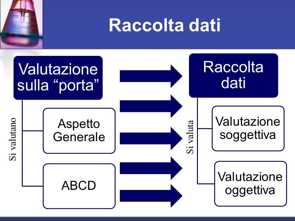 Raccolta dati Valutazione sulla porta Aspetto Generale ABCD Raccolta dati Valutazione soggettiva Valutazione oggettiva Si valutano Si valuta