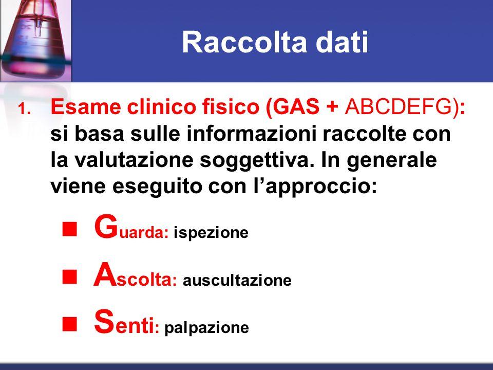 1. Esame clinico fisico (GAS + ABCDEFG): si basa sulle informazioni raccolte con la valutazione soggettiva. In generale viene eseguito con l'approccio