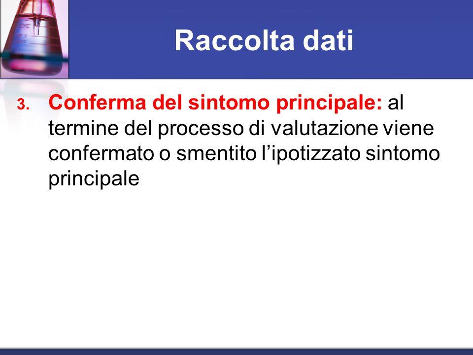 3. Conferma del sintomo principale: al termine del processo di valutazione viene confermato o smentito l'ipotizzato sintomo principale Raccolta dati