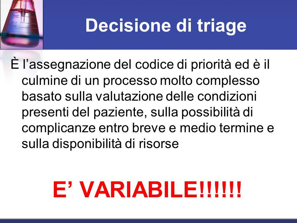Decisione di triage È l'assegnazione del codice di priorità ed è il culmine di un processo molto complesso basato sulla valutazione delle condizioni presenti del paziente, sulla possibilità di complicanze entro breve e medio termine e sulla disponibilità di risorse E' VARIABILE!!!!!!