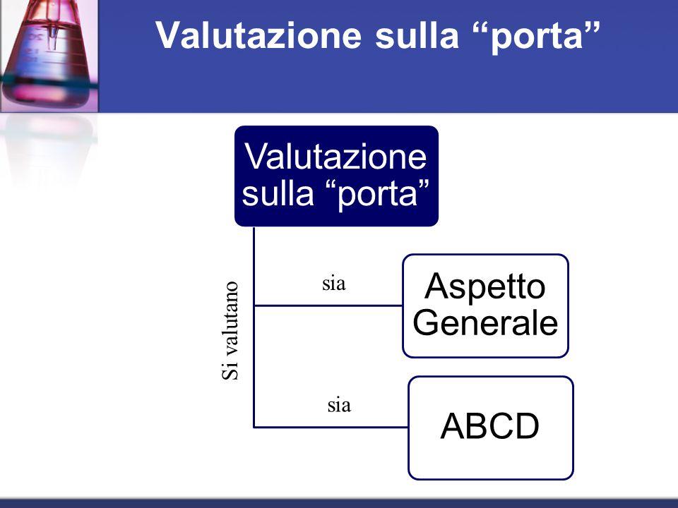 Valutazione sulla porta Aspetto Generale ABCD Valutazione sulla porta Si valutano sia