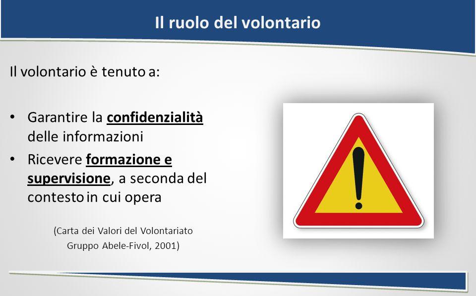 Il ruolo del volontario Il volontario è tenuto a: Garantire la confidenzialità delle informazioni Ricevere formazione e supervisione, a seconda del contesto in cui opera (Carta dei Valori del Volontariato Gruppo Abele-Fivol, 2001)