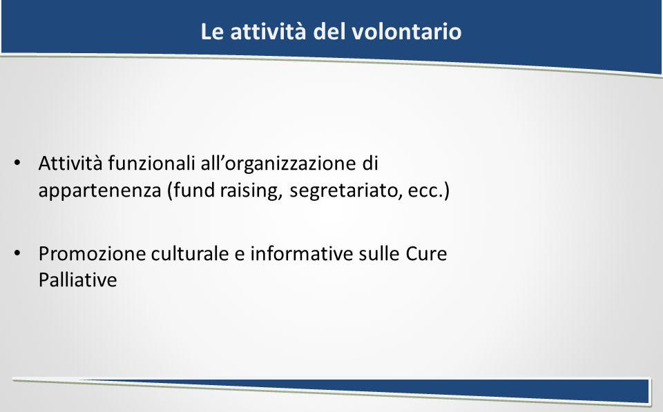 Le attività del volontario Attività funzionali all'organizzazione di appartenenza (fund raising, segretariato, ecc.) Promozione culturale e informative sulle Cure Palliative