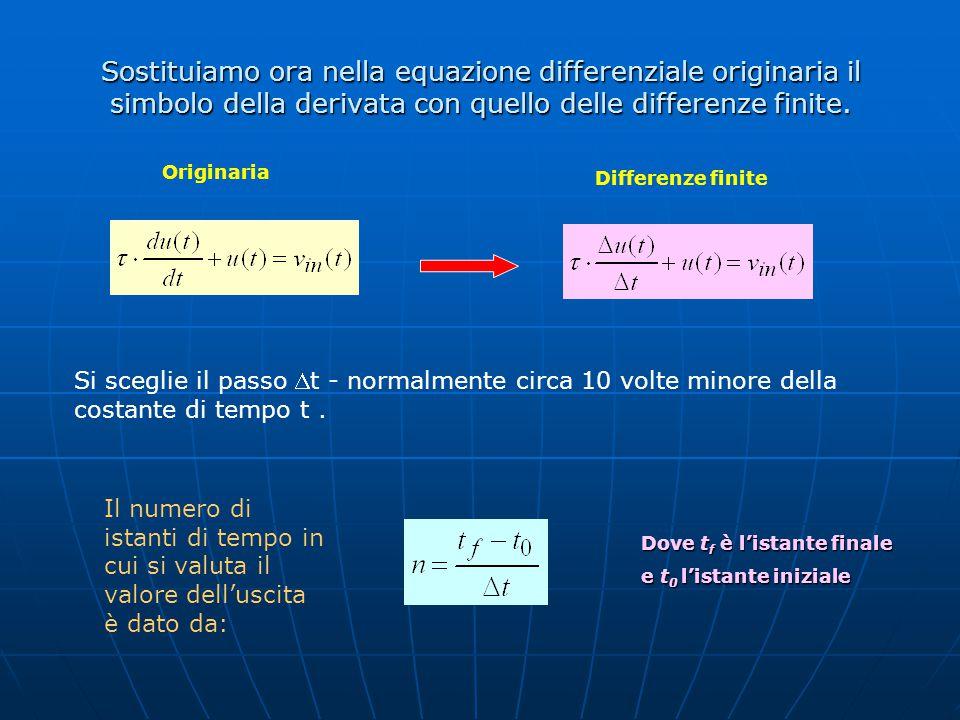 Sostituiamo ora nella equazione differenziale originaria il simbolo della derivata con quello delle differenze finite. Si sceglie il passo t - normal